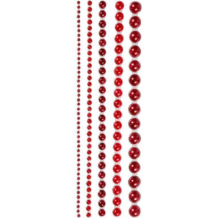 Halv-perler størrelse 2-8 mm rød Copenhagen assorteret | 140 stk.