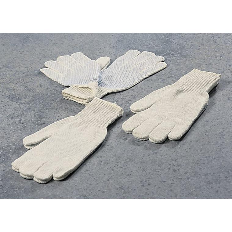 Strikhandsker hvide med botter størrelse 10 - 12par