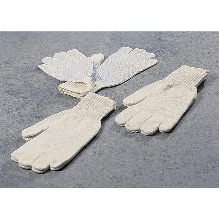 Strikhandsker hvide med dubber størrelse 8 - 12 par