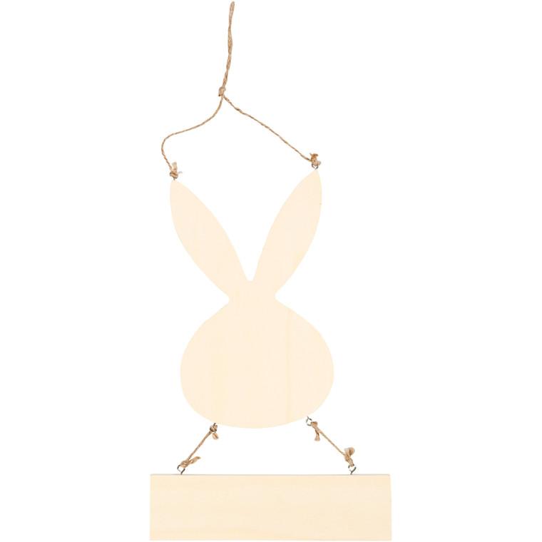 Hare med skilt, H: 29,5 cm, B: 19,2 cm, krydsfiner, 1stk., tykkelse 7 mm
