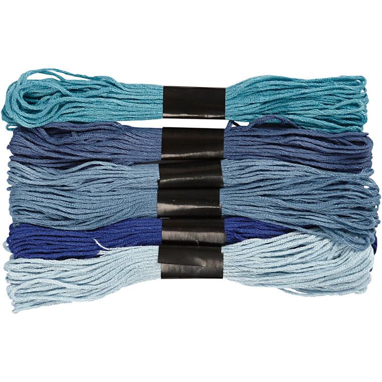 Harmoni broderigarn, tykkelse 1 mm, blå harmoni, 6bdt.
