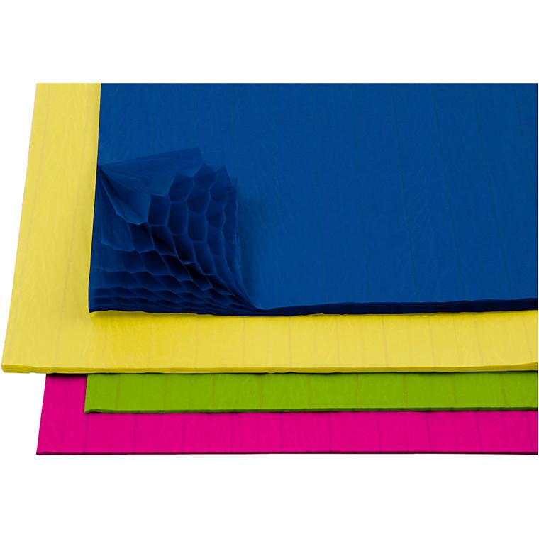Harmonikapapir ark 28 x 17,8 cm assorteret farver   8 ark