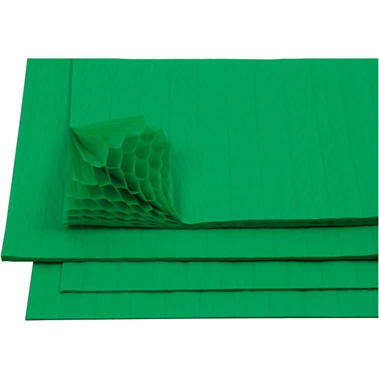 Harmonikapapir ark 28 x 17,8 cm grøn   8 ark