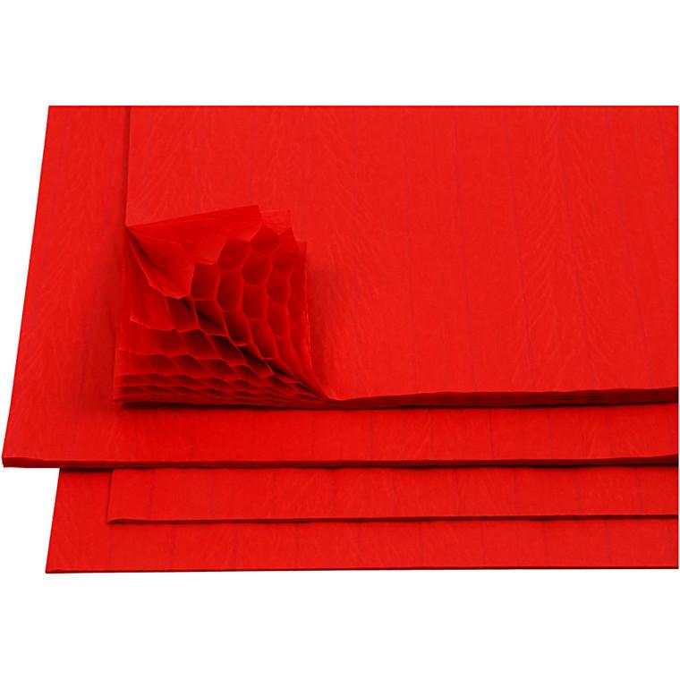 Harmonikapapir ark 28 x 17,8 cm rød   8 ark