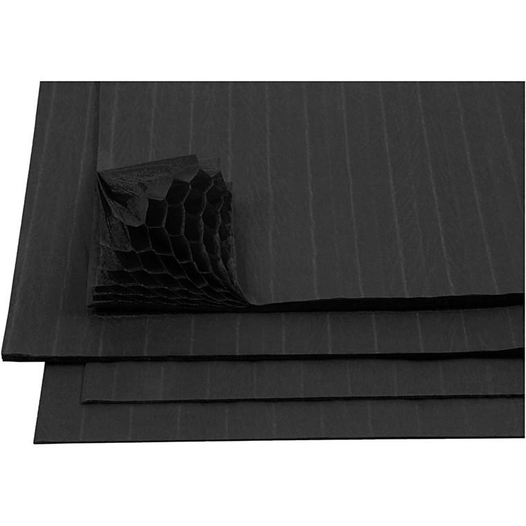 Harmonikapapir ark 28 x 17,8 cm sort   8 ark