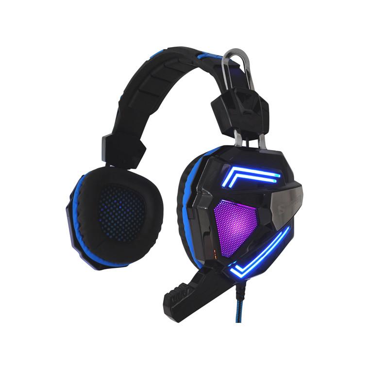 Headset Gaming Cyclone sort blå inkl mikrofon