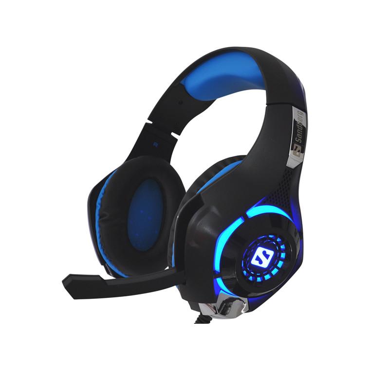 Headset Gaming Twister sort blå m farveskiftende LED lys