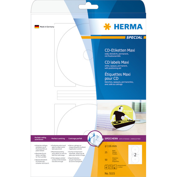 HERMA CD  labels Maxi white Ø 116  A4 50pcs
