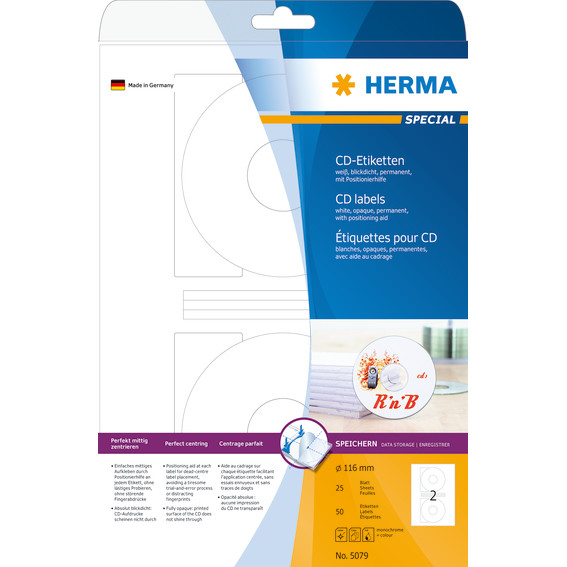 HERMA CD labels white Ø 116 Herma A4 50pcs