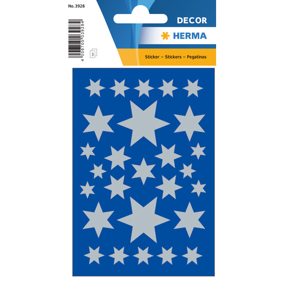 HERMA Decor Stickers stars silver foil 3 sheets