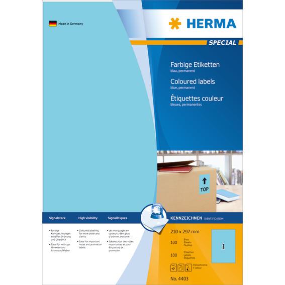 Herma etiket Special 210x297 blå (100)