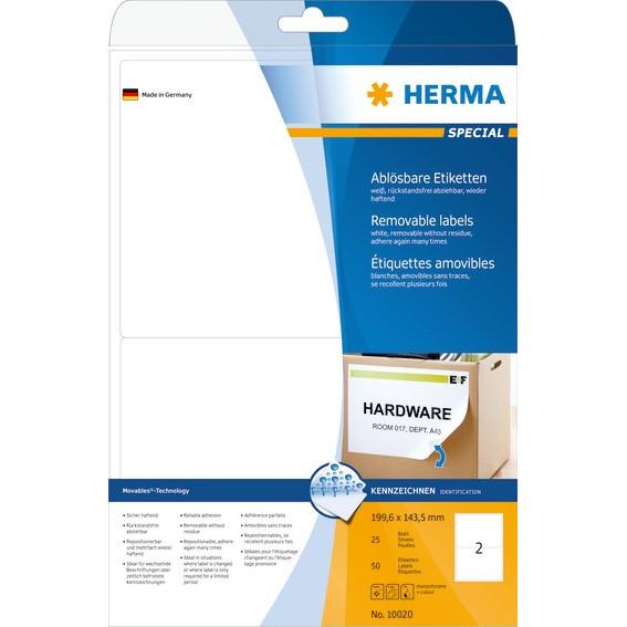 HERMA Herma etiket aftagelig 199,6x143,5 (50)