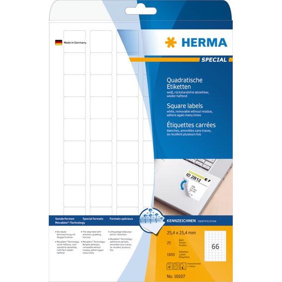 HERMA Herma etiket aftagelig 25,4x25,4 (1650)