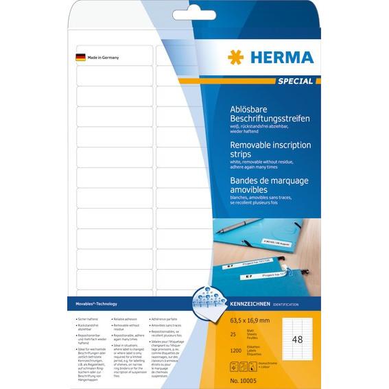 HERMA Herma etiket aftagelig 63,5x16,9 (1200)