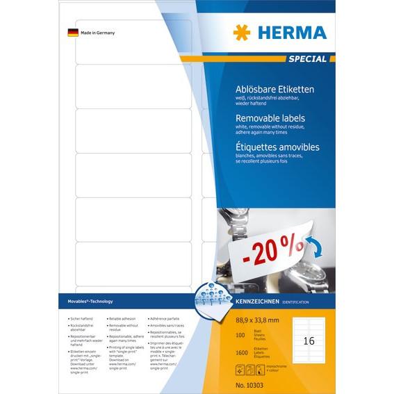 HERMA Herma etiket aftagelig 88,9x33,8 (1600)