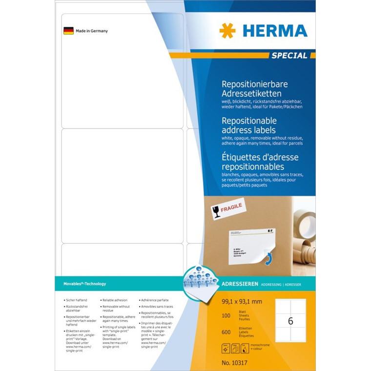 HERMA Herma etiket aftagelig 99,1x93,1 (600)