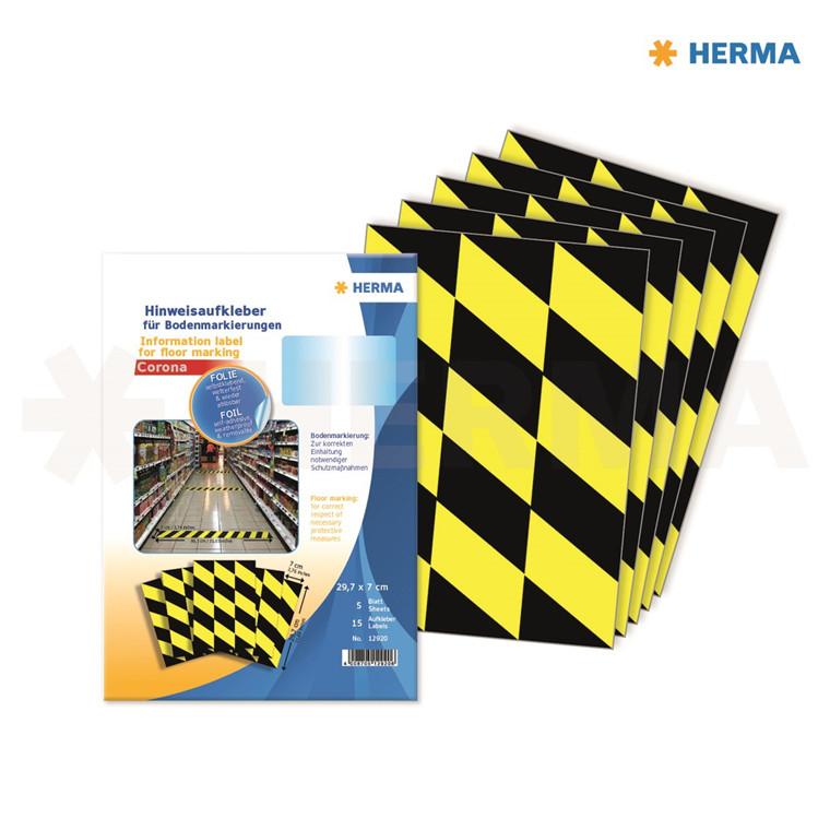 "HERMA Herma etiket ""Gulv markering"" sort-gul (5)"