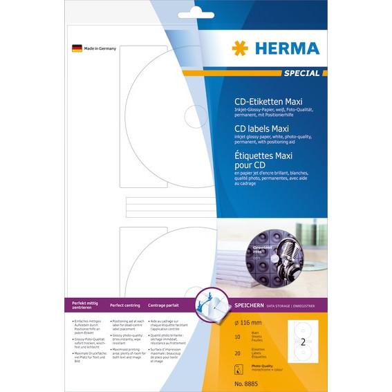 HERMA Herma etiket Special CD maxi ø116 Inkjet glossy (20)