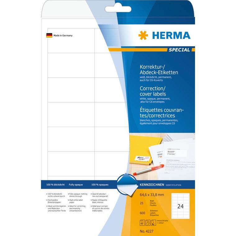 HERMA etiket uigennemsigtig 64,6x33,8 (600)