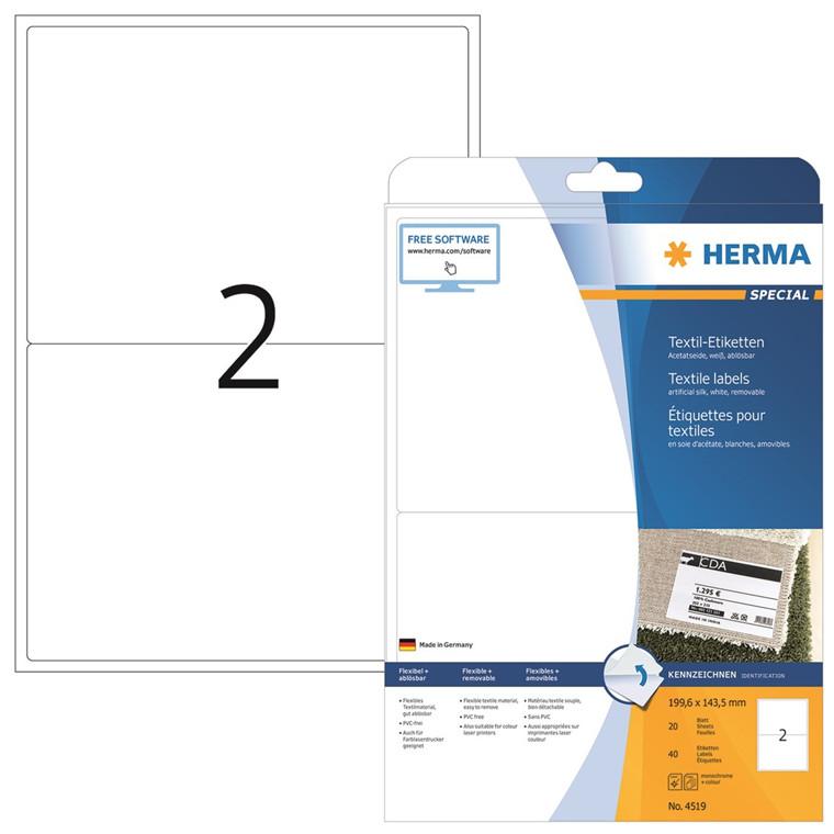 HERMA Herma navne/tekstil etiket aftagelig 199,6x143,5 hvid (40)