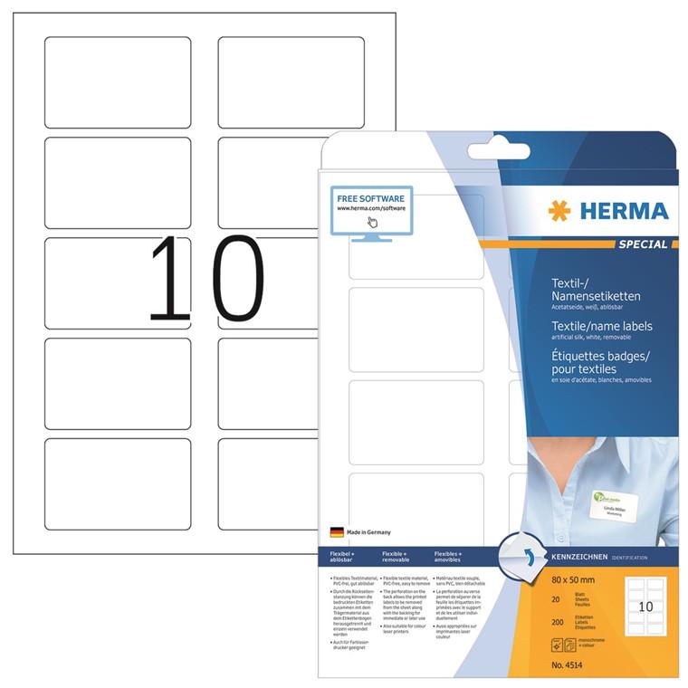 HERMA Herma navne/tekstil etiket aftagelig 80x50 hvid (200)