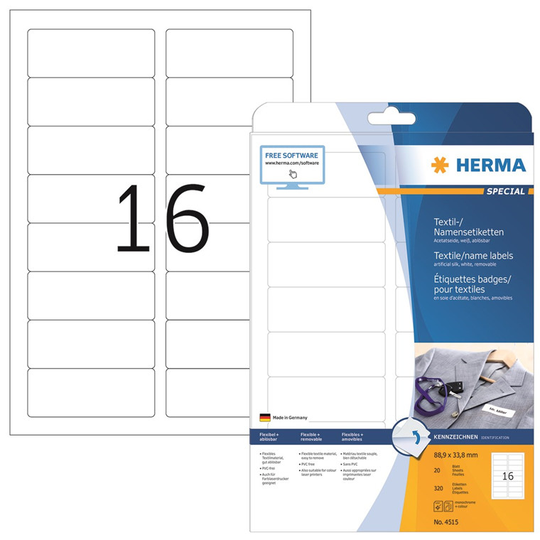 HERMA Herma navne/tekstil etiket aftagelig 88,9x33,8 hvid (320)