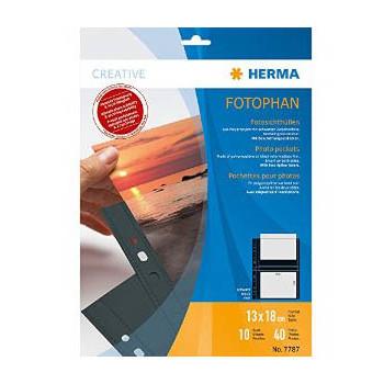 Fotolommer 13x18 cm sort A4 med 4 lommer Herma - 10 stk.