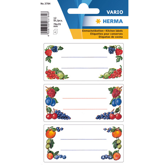 HERMA Kitchen labels Herma 76x35mm berry arrangements 4 sheets