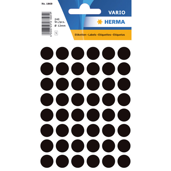 HERMA Multi-purpose labels Herma ø 12mm black 240 pcs.