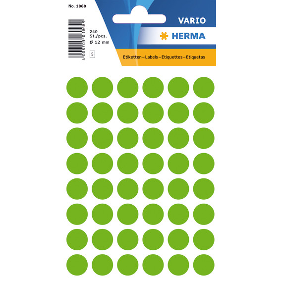 HERMA Multi-purpose labels Herma ø 12mm luminous green 240 pcs.