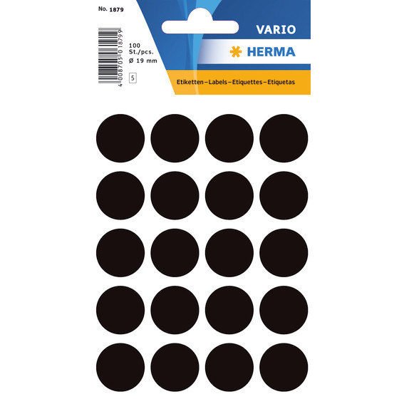 HERMA Multi-purpose labels Herma ø 19mm black 100 pcs.