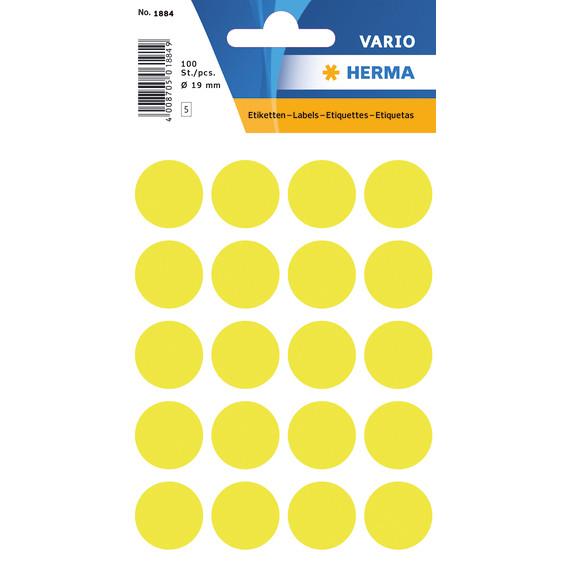 HERMA Multi-purpose labels Herma ø 19mm luminous yellow 100 pcs.