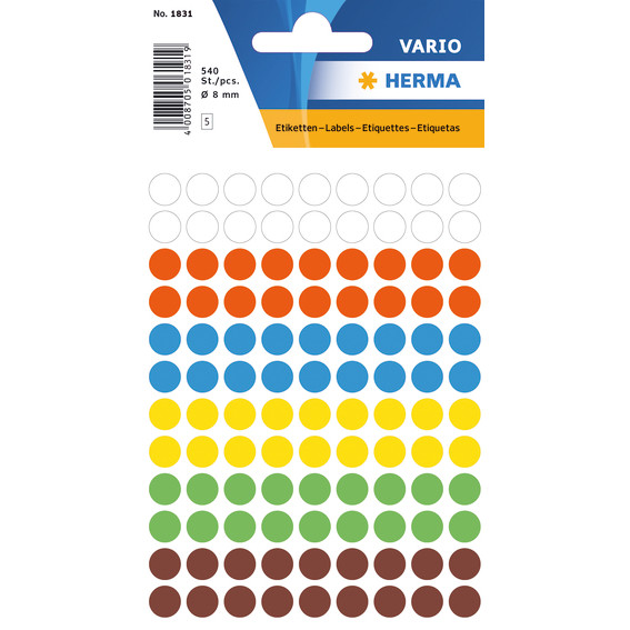 HERMA Multi-purpose labels Herma ø 8 mm colours assorted 540 pcs.