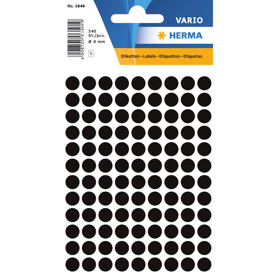 HERMA Multi-purpose labels Herma ø 8mm black 540 pcs.