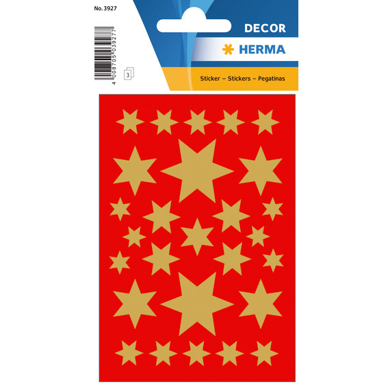 HERMA Stickers Herma stars gold foil 3 sheets