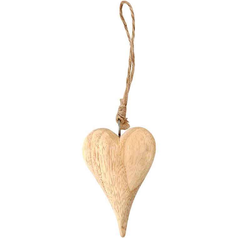 Hjerte, H: 9,5 cm, tykkelse 15 mm, Basic, 1stk.