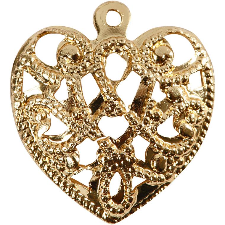 Hjerte, str. 13x14 mm, hulstr. 1 mm, forgyldt, FG, 4stk.
