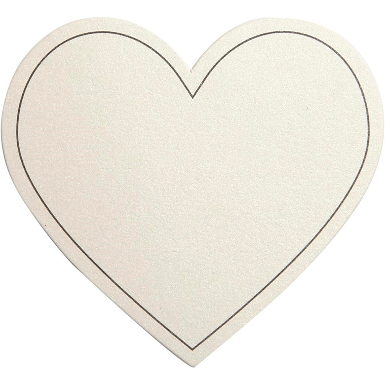 Hjerte, str. 75x69 mm, 120 g, råhvid, 10stk.