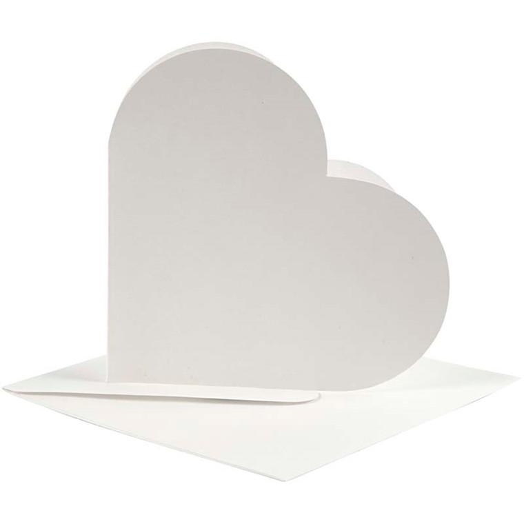 Hjertekort kort størrelse 12,5 x 12,5 cm kuvert størrelse 13,5 x 13,5 cm off-white - 10 sæt