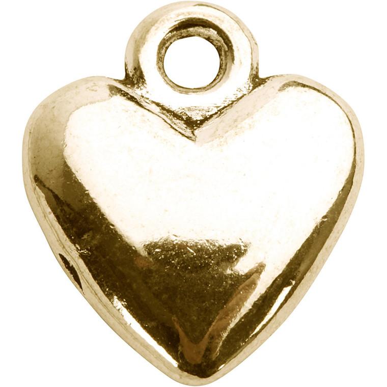 Hjertevedhæng, str. 13x15 mm, forgyldt, 10stk.