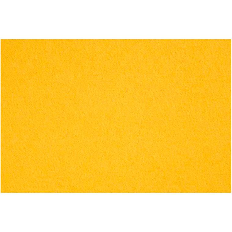 Hobbyfilt ark 42 x 60 cm tykkelse 3 mm - gul