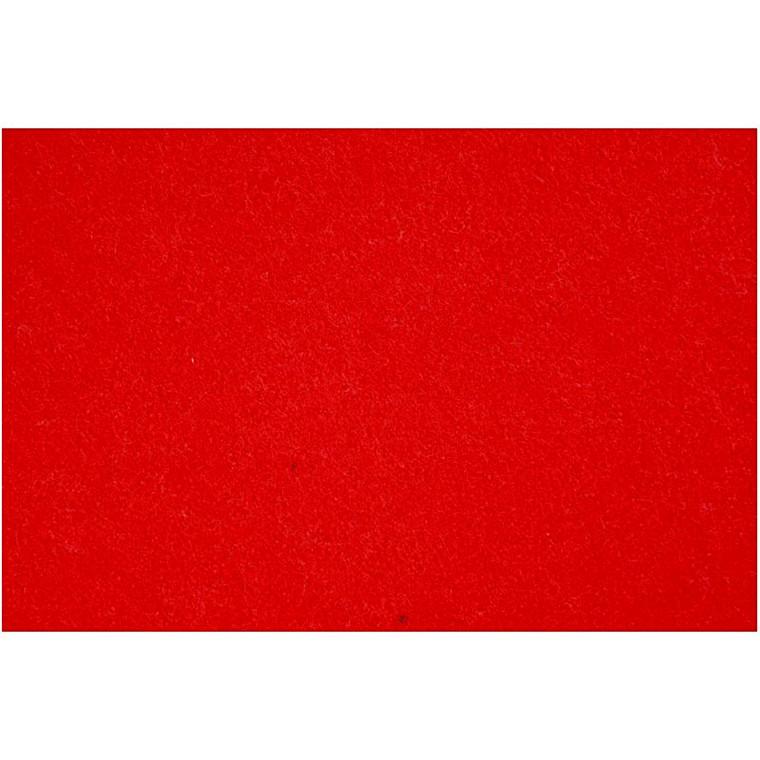 Hobbyfilt ark 42 x 60 cm tykkelse 3 mm - rød