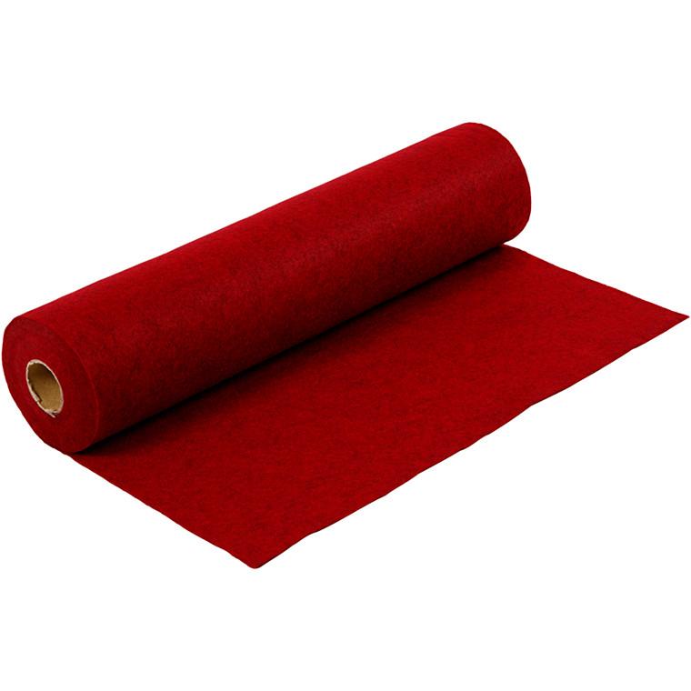 Hobbyfilt bredde 45 cm tykkelse 1,5 mm rød meleret | 5 meter