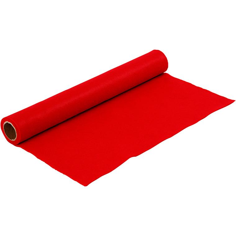 Hobbyfilt - Rød - 45 cm bred - tykkelse 1,5 mm - 1 m