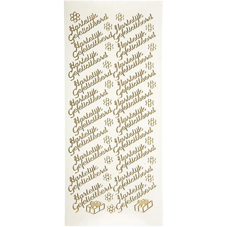 Hobbystickers, 10x23 cm, guld, Hartelijk Gefeliciteerd, 5 ark