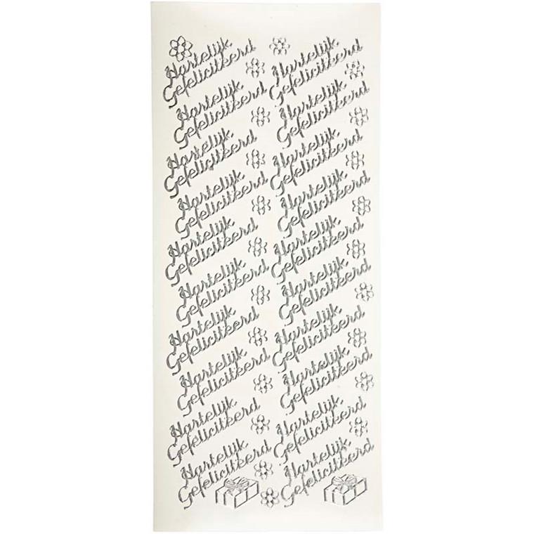 Hobbystickers, 10x23 cm, sølv, Hartelijk Gefeliciteerd, 5 ark