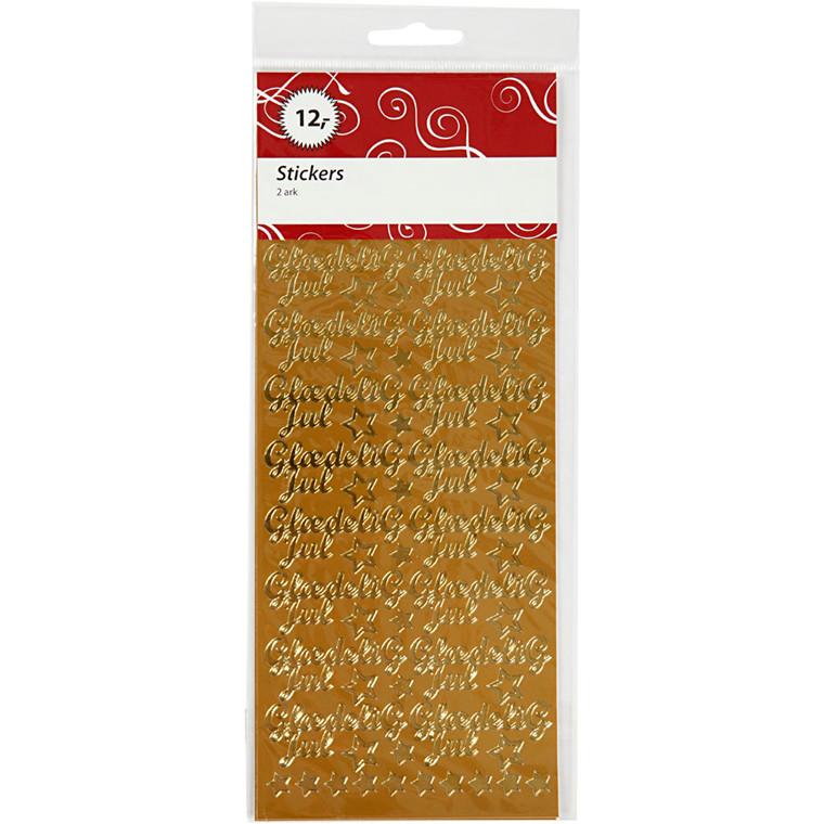 Hobbystickers, ark 10x23 cm, guld, Glædelig jul, 2ark
