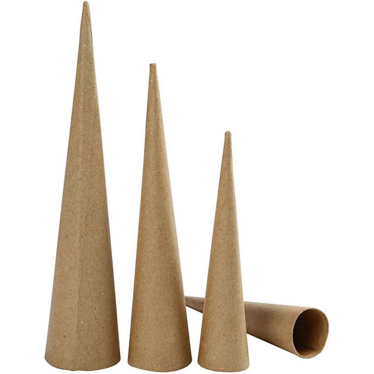 Høje kegler papmaché Højde 20 - 25 - 30 cm diameter 4 - 5 - 6 cm - 3 stk