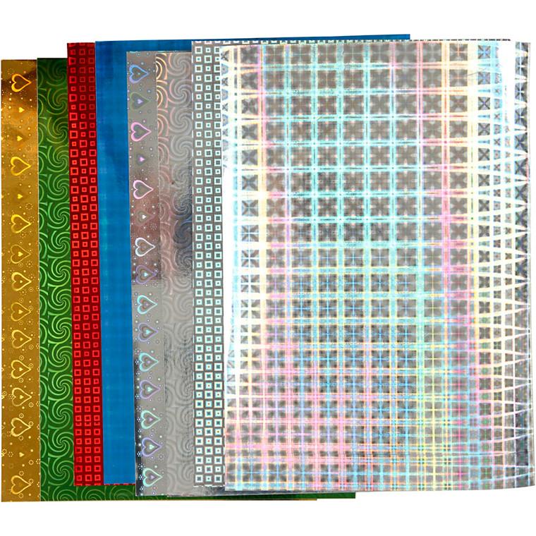 Holografipapir, A4 210x297 mm, 120 g, 8ass. ark