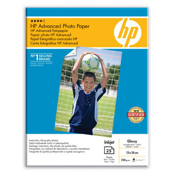 HP - 13 x 18 cm Advanced Glossy Foto Papir 250 gram - 25 ark